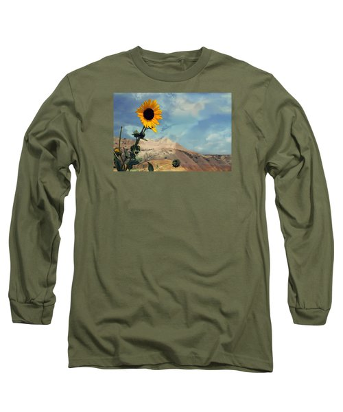 Badlands Of South Dakota Yellow Flower Long Sleeve T-Shirt