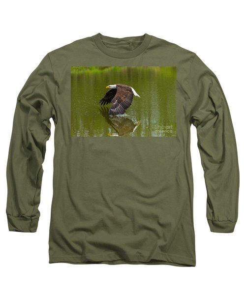 Bald Eagle In Low Flight Over A Lake Long Sleeve T-Shirt