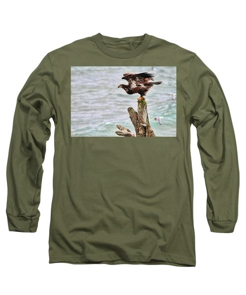 Bald Eagle On Driftwood At The Beach Long Sleeve T-Shirt by Peggy Collins