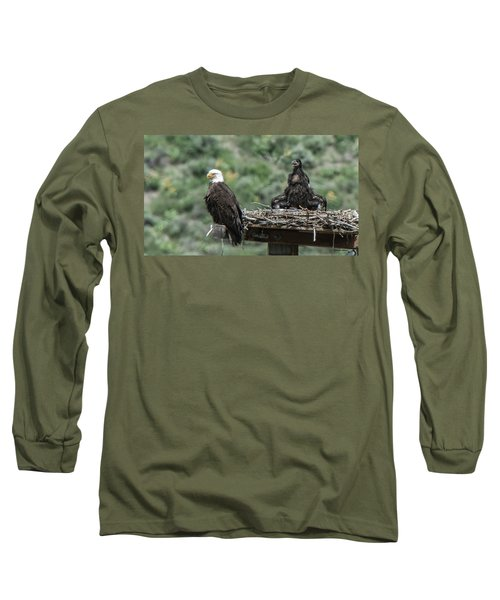 Bald Eaglet Cooling Off On A Hot Spring Day Long Sleeve T-Shirt