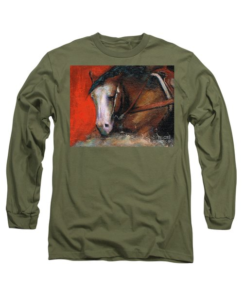 Long Sleeve T-Shirt featuring the painting Bald Face by Frances Marino