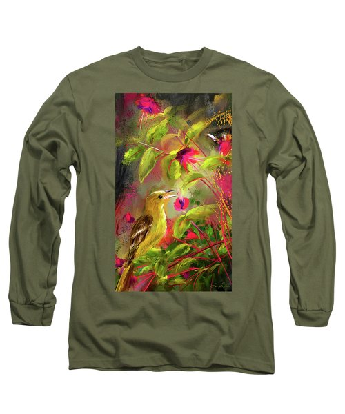 Baltimore Oriole Art- Baltimore Female Oriole Art Long Sleeve T-Shirt by Lourry Legarde