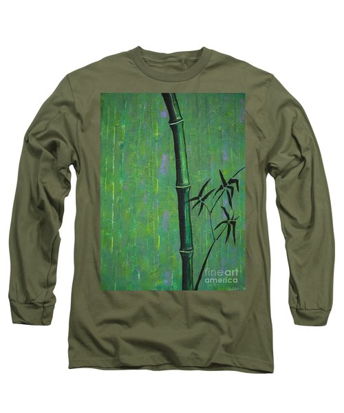 Long Sleeve T-Shirt featuring the painting Bamboo by Jacqueline Athmann