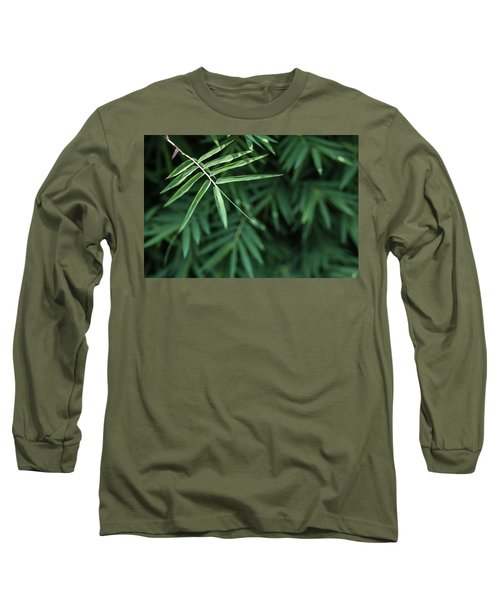 Bamboo Leaves Background Long Sleeve T-Shirt by Jingjits Photography