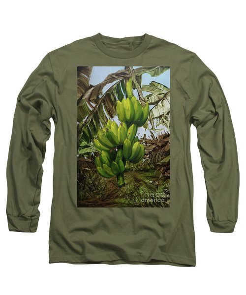 Long Sleeve T-Shirt featuring the painting Banana Tree by Chonkhet Phanwichien