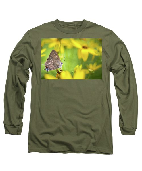 Banded Hairstreak On Coreopsis Long Sleeve T-Shirt
