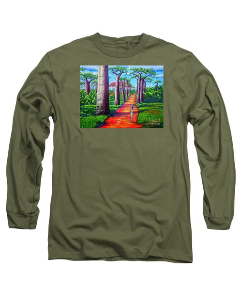 Long Sleeve T-Shirt featuring the painting Baobab by Viktor Lazarev