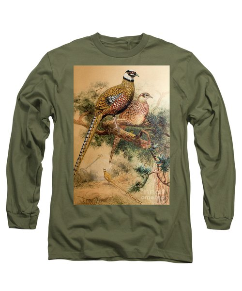 Bar-tailed Pheasant Long Sleeve T-Shirt by Joseph Wolf
