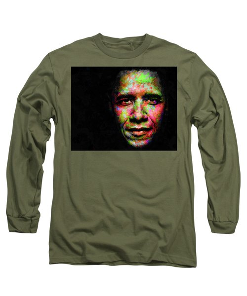 Long Sleeve T-Shirt featuring the mixed media Barack Obama by Svelby Art