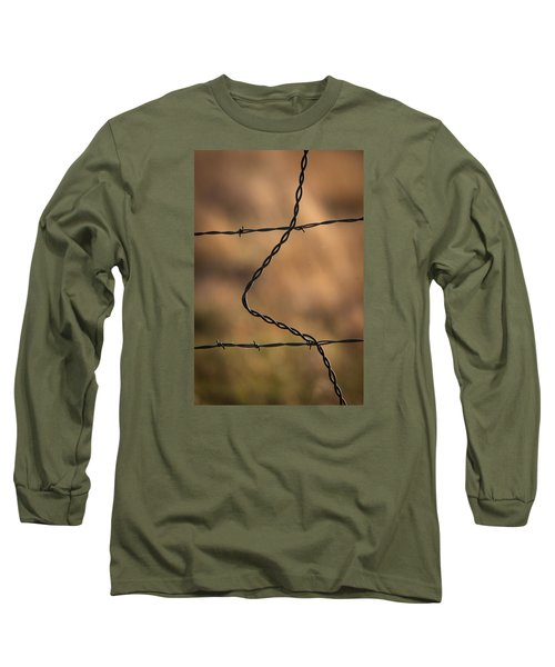 Barbed And Bent Fence Long Sleeve T-Shirt by Monte Stevens