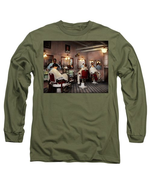 Long Sleeve T-Shirt featuring the photograph Barber - Senators-only Barbershop 1937 by Mike Savad