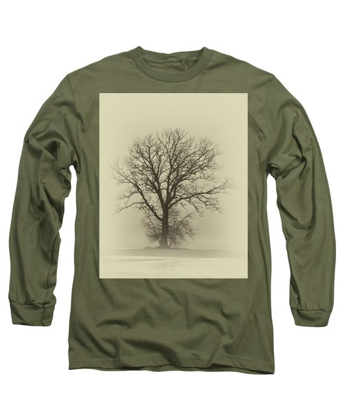 Bare Tree In Fog- Nik Filter Long Sleeve T-Shirt by Nancy Landry