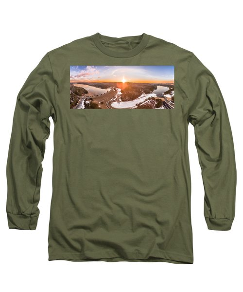 Barkhamsted Reservoir And Saville Dam In Connecticut, Sunrise Panorama Long Sleeve T-Shirt by Petr Hejl