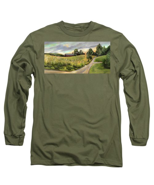 Barn On The Ridge In West Newbury Vermont Long Sleeve T-Shirt