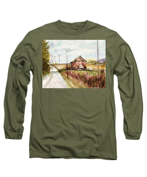 Barns And Electric Poles, Sunday Drive Long Sleeve T-Shirt by Judith Levins