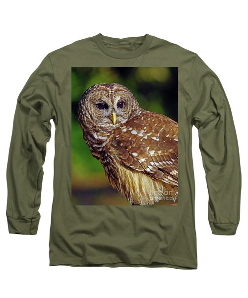 Long Sleeve T-Shirt featuring the photograph Barred Owl by Larry Nieland