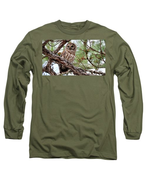 Barred Owl On Tree Branch Long Sleeve T-Shirt