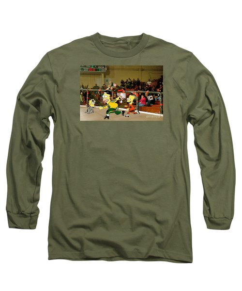 Bart Vs Homer Simpson At The Roller Derby Long Sleeve T-Shirt
