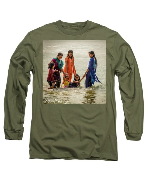 Bathing At Varkala II Long Sleeve T-Shirt