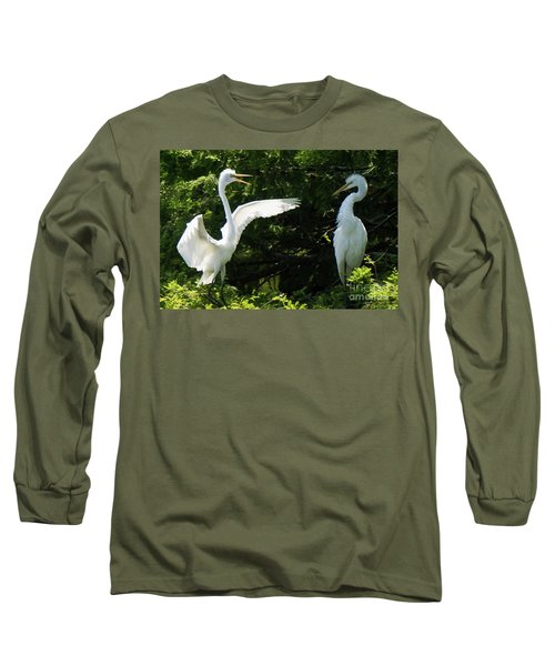 Battle Of The Egrets Long Sleeve T-Shirt