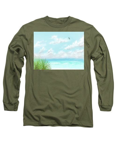 Long Sleeve T-Shirt featuring the digital art Beach And Palms by Darren Cannell