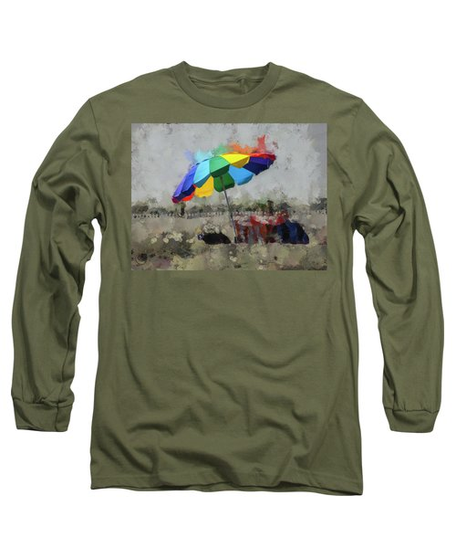 Long Sleeve T-Shirt featuring the mixed media Beach Ready by Trish Tritz