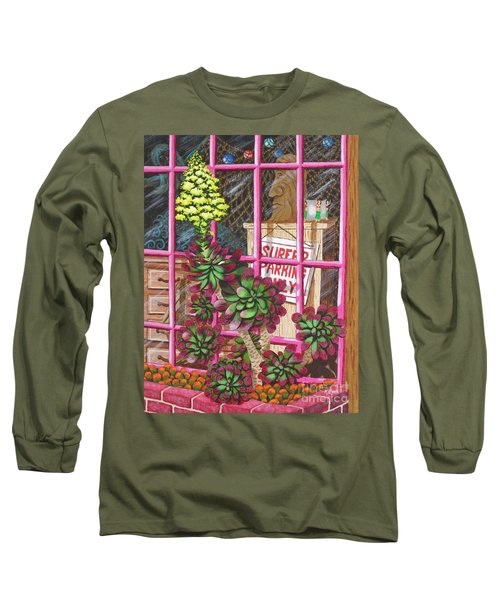 Long Sleeve T-Shirt featuring the painting Beach Side Storefront Window by Katherine Young-Beck