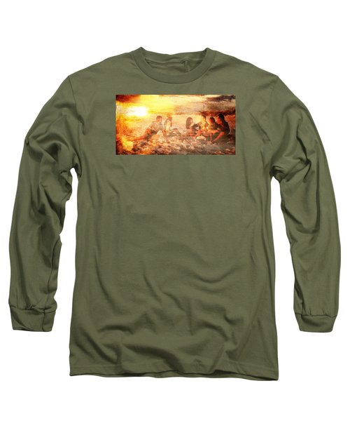 Long Sleeve T-Shirt featuring the digital art Beach Sunset With Friends by Andrea Barbieri