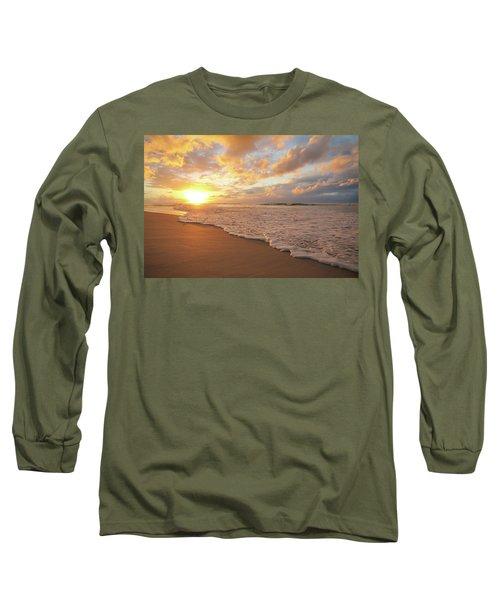 Beach Sunset With Golden Clouds Long Sleeve T-Shirt