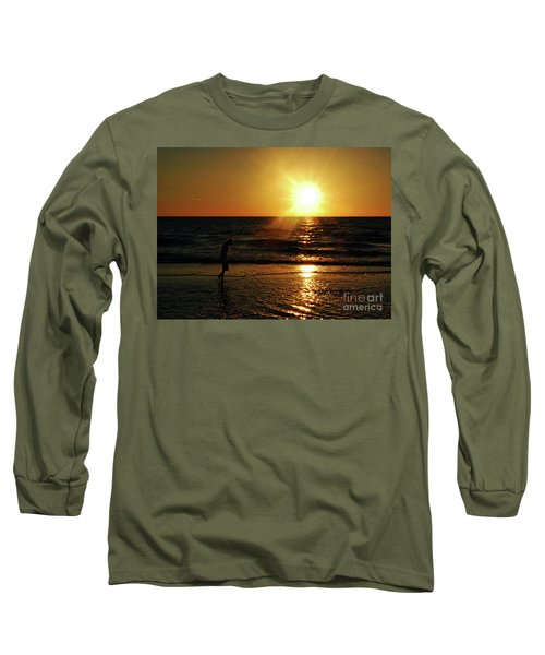 Long Sleeve T-Shirt featuring the photograph Beach Walking by Gary Wonning