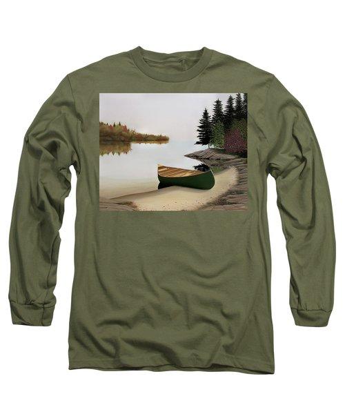 Beached Canoe In Muskoka Long Sleeve T-Shirt by Kenneth M  Kirsch