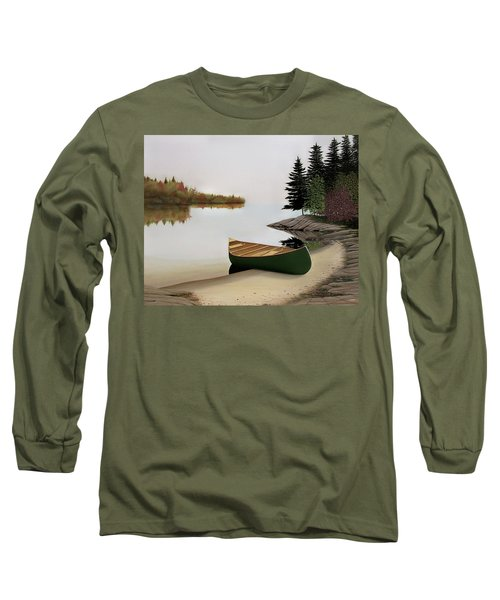 Beached Canoe In Muskoka Long Sleeve T-Shirt