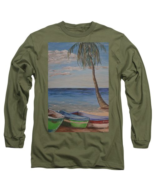 Long Sleeve T-Shirt featuring the painting Beached by Debbie Baker
