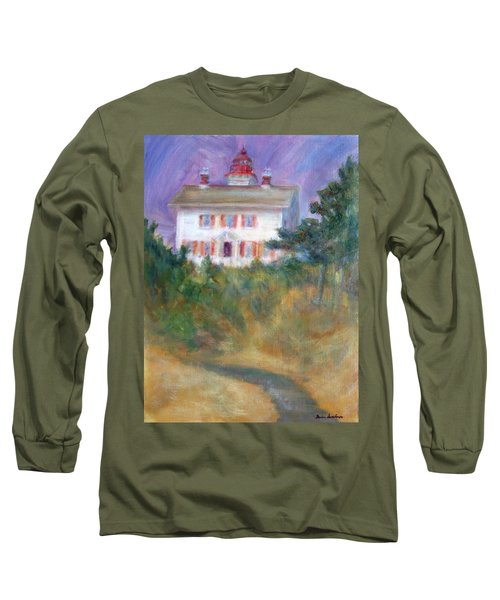 Beacon On The Hill - Lighthouse Painting Long Sleeve T-Shirt