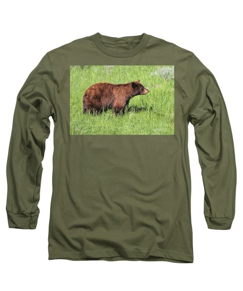 Bear Eating Daisies Long Sleeve T-Shirt
