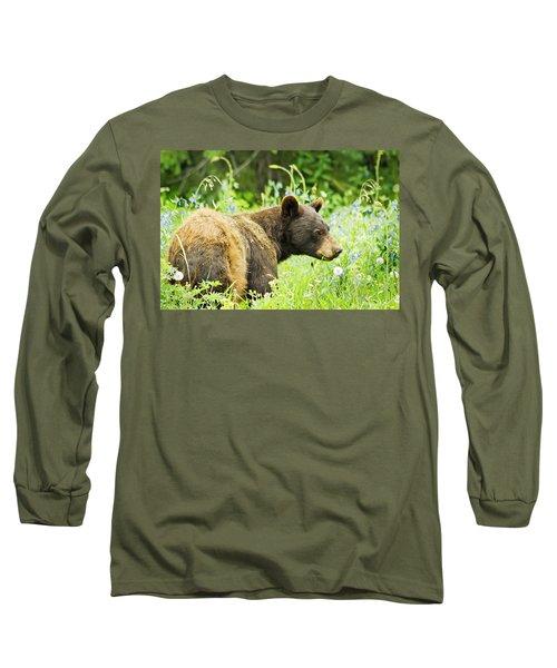 Bear In Flowers Long Sleeve T-Shirt