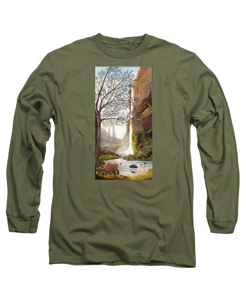 Long Sleeve T-Shirt featuring the painting Bears At Waterfall by Myrna Walsh