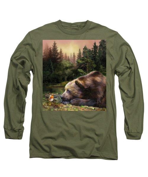 Long Sleeve T-Shirt featuring the mixed media Bear's Eye View by Carol Cavalaris