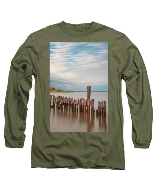 Beautiful Aging Pilings In Keyport Long Sleeve T-Shirt by Gary Slawsky