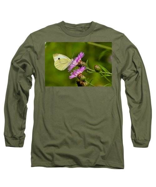 Beautiful Butterfly On Pink Thistle Long Sleeve T-Shirt
