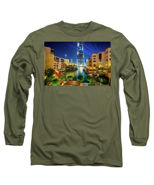 Beautiful Downtown Area In Dubai At Night, Dubai, United Arab Emirates Long Sleeve T-Shirt