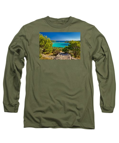 Beautiful Emerald Beach On Murter Island Long Sleeve T-Shirt by Brch Photography