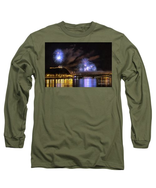 Beautiful Fireworks In Budapest Hungary Long Sleeve T-Shirt
