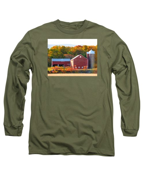 Long Sleeve T-Shirt featuring the painting Beautiful Red Barn 2 by Lanjee Chee
