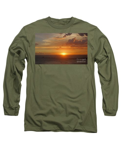 Long Sleeve T-Shirt featuring the photograph Beautiful Sunset At Kaohsiung Harbor by Yali Shi