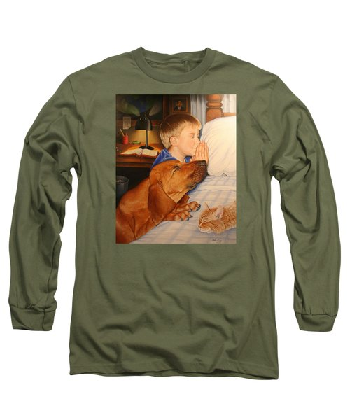 Long Sleeve T-Shirt featuring the painting Bed Time Prayers by Mike Ivey