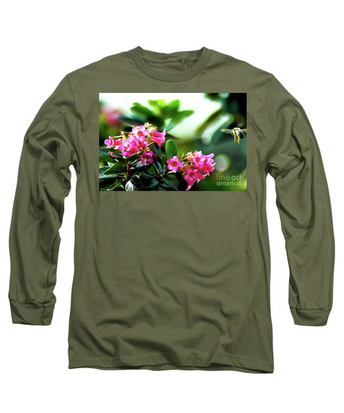 Long Sleeve T-Shirt featuring the photograph Bee In Flight by Micah May