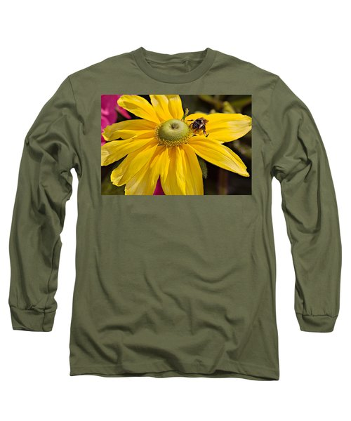 Long Sleeve T-Shirt featuring the photograph Bee On Yellow Cosmo by Peter J Sucy