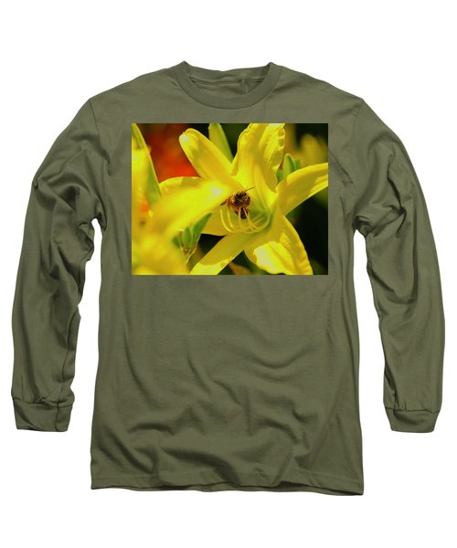 Bee On Yellow Lilly Long Sleeve T-Shirt