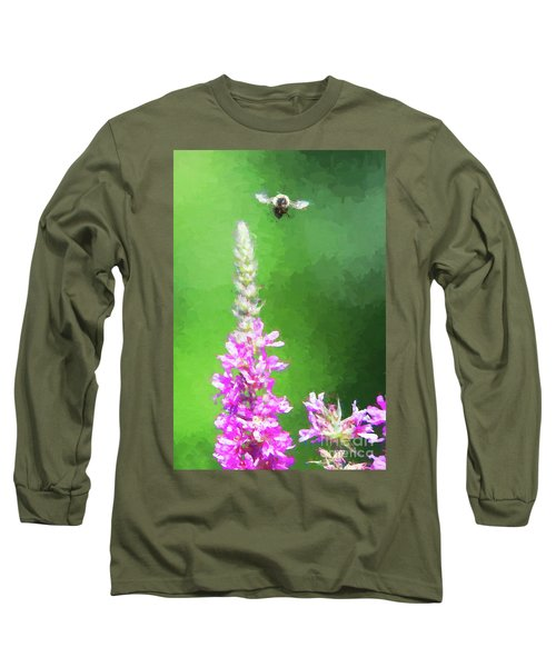 Bee Over Flowers Long Sleeve T-Shirt